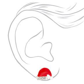 Silver Santa Hat Stud Earrings - Red,