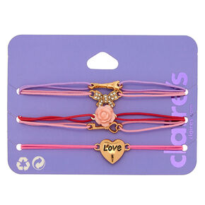 Romantic Paris Love Stretch Bracelets - Pink, 5 Pack,