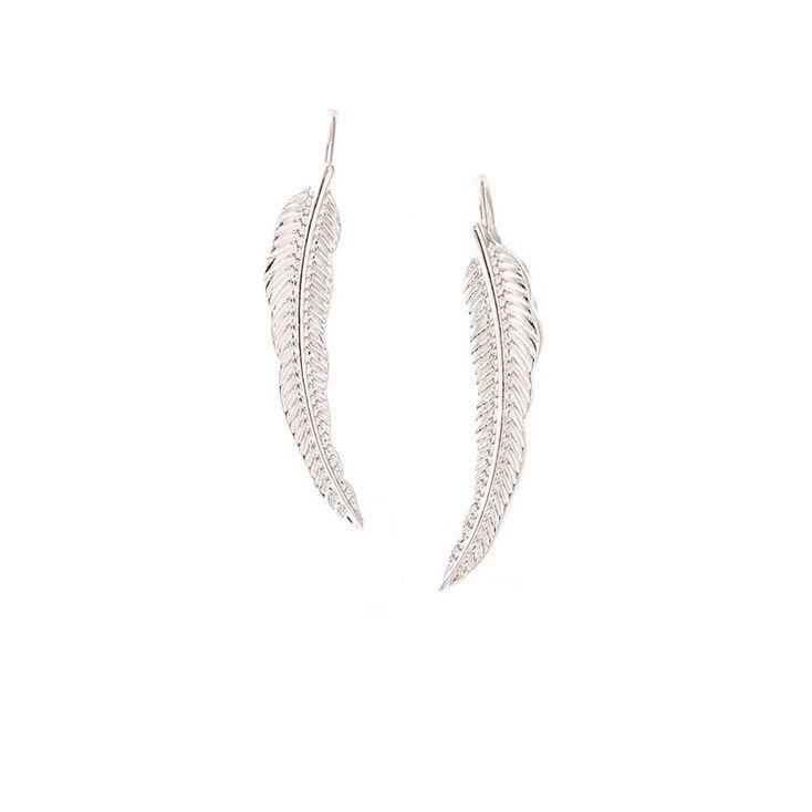 Silver Tone Leaf Ear Crawler,