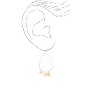 "Gold 2.5"" Teardrop Shell Filigree Drop Earrings - Ivory,"