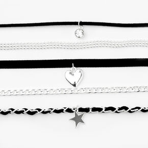 Silver Heart Star Mixed Cord Choker Necklaces - Black, 5 Pack,