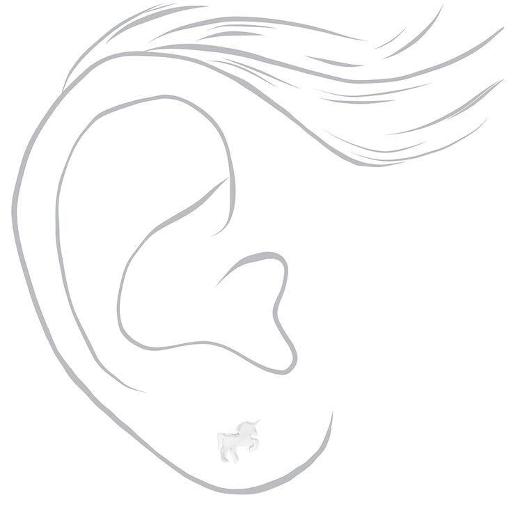 Clous d'oreilles licorne couleur argentée,
