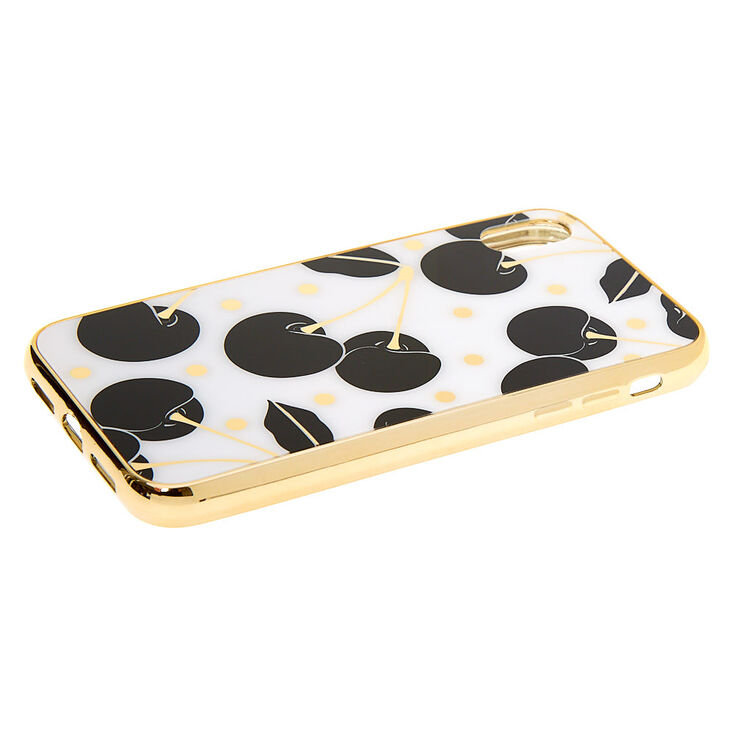 Black & White Cherry Protective Phone Case - Fits iPhone XR,