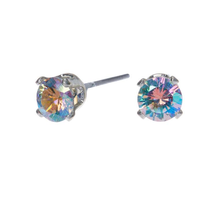 Silver Cubic Zirconia Round Stud Earrings - 5MM,
