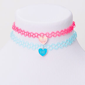 Best Friends Blue & Pink Heart Tattoo Choker Necklaces - 2 Pack,