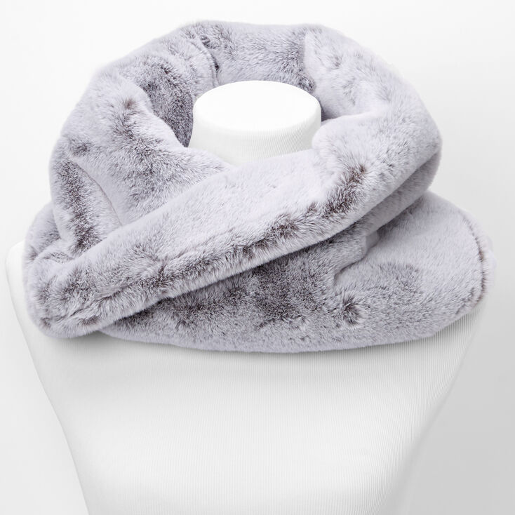 Faux Fur Infinity Scarf - Gray,