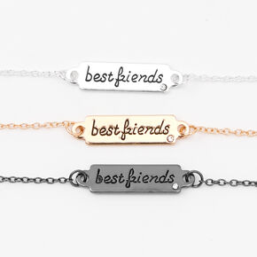 Mixed Metal Script Plate Friendship Bracelets - 3 Pack,