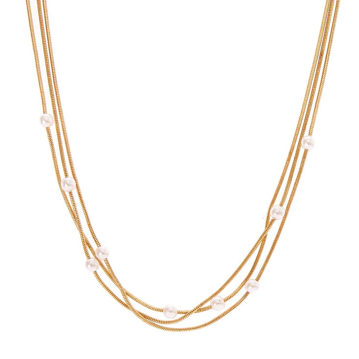 Multi Row Pearl Necklace: Gold-Tone Multi-Row Choker Necklace With Tiny Faux Pearls