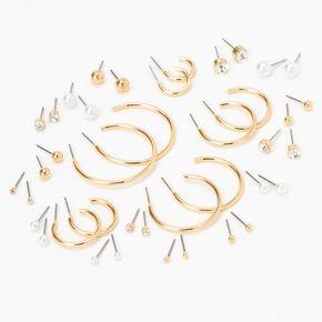 Boucles d'oreilles aux designs variés de différentes tailles couleur dorée - Lot de 20,