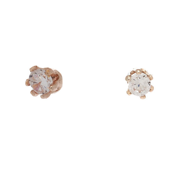 Claire's - rose cubic zirconia 2mm round stud earrings - 1