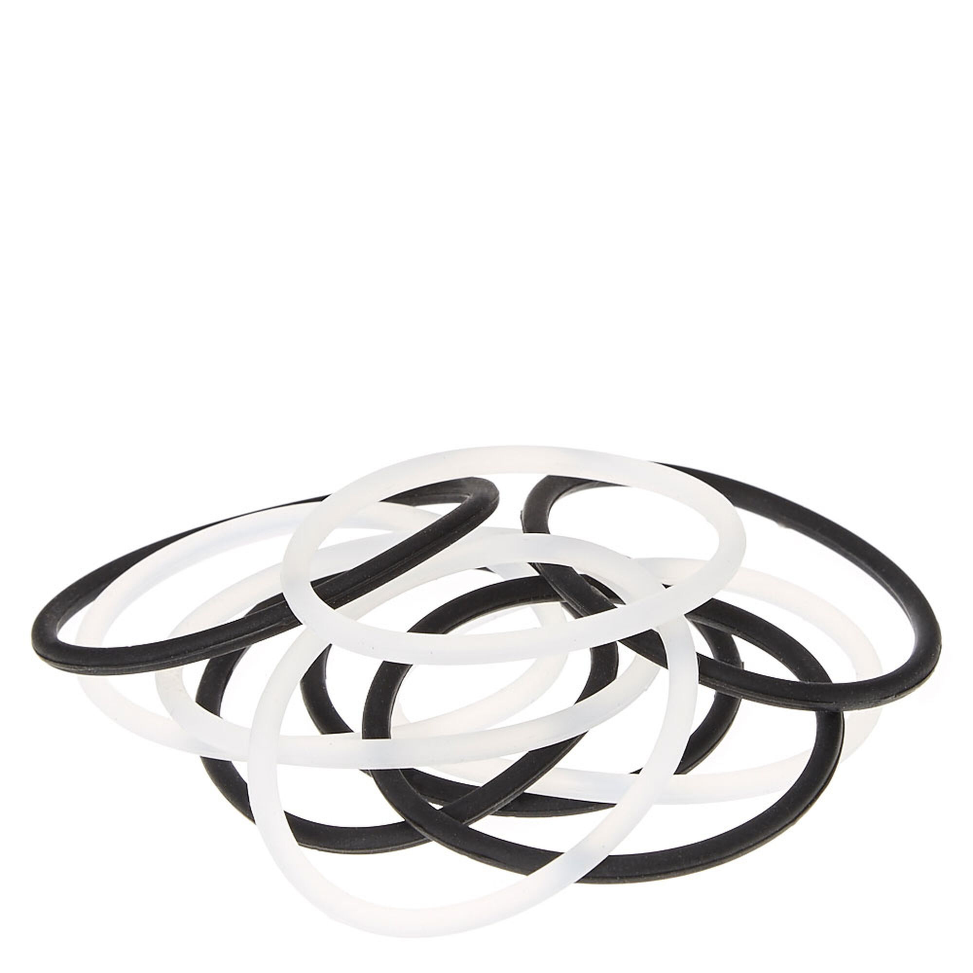 Clear And Black No Slip Grip Silicone Hair Ties Claire S Us