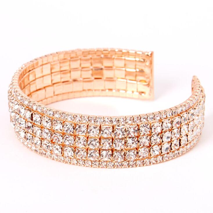 Rose Gold Rhinestone Glam Cuff Bracelet,
