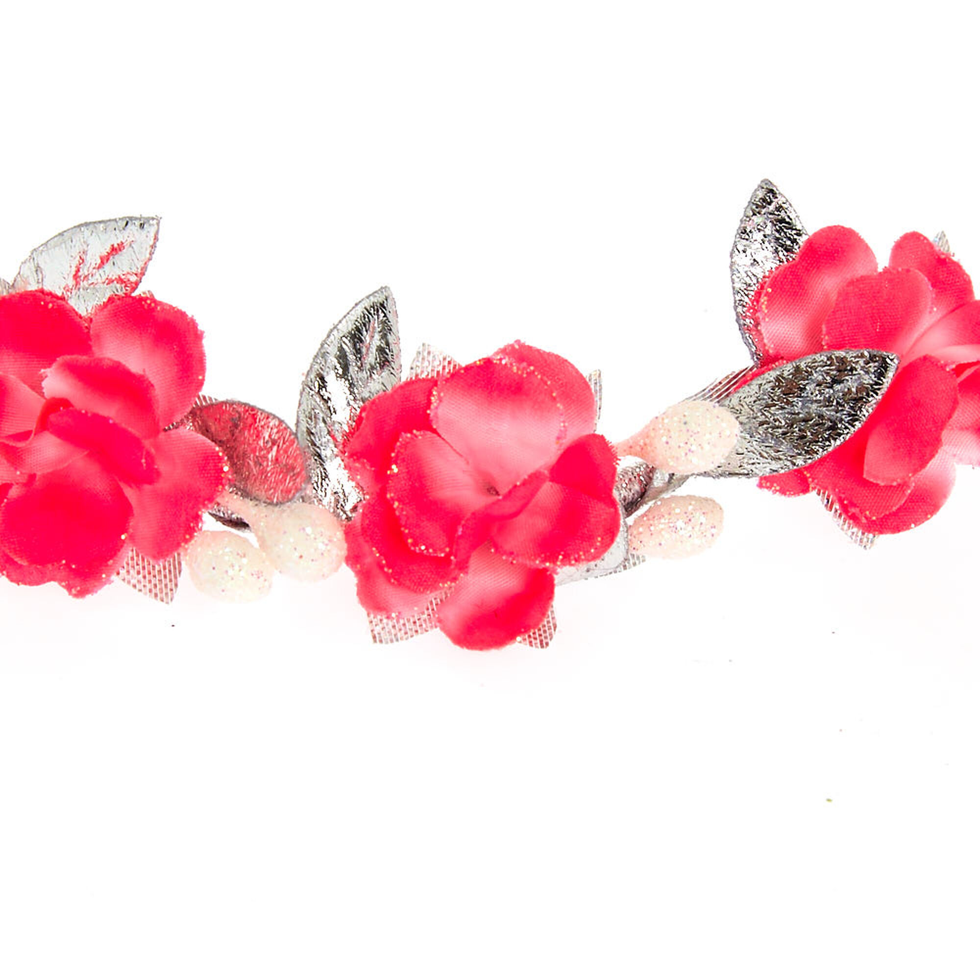 Hot pink silver flower crown headwrap claires hot pink amp silver flower crown headwrap izmirmasajfo
