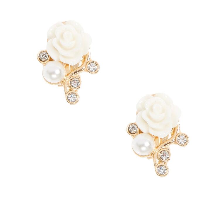 Boucles d'oreilles à clips couleur dorées à fleurs blanches,