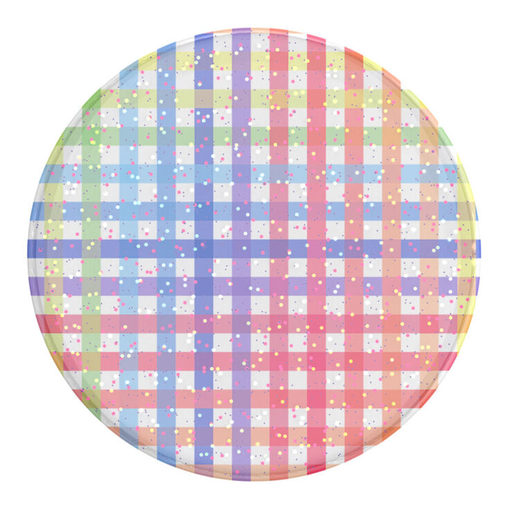 Glitter Rainbow Gingham PopSockets Swappable PopGrip,