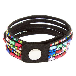 Bracelet tendance multi-rangs incrusté de pierres arc-en-ciel,