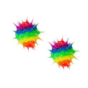 Sterling Silver Glitter Rainbow Rave Ball Stud Earrings,