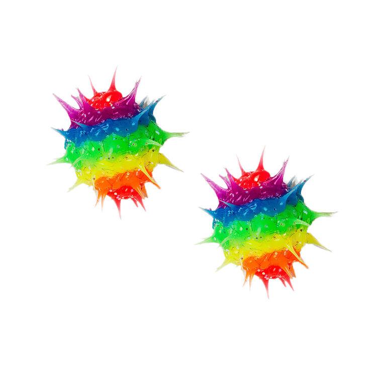 Sterling Silver Glitter Rainbow Rave Ball Stud Earrings,