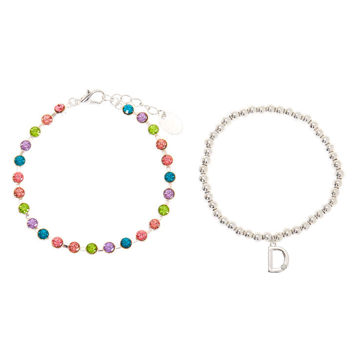 Silver Rainbow Initial Jewellery Gift Set - D, 4 Pack,
