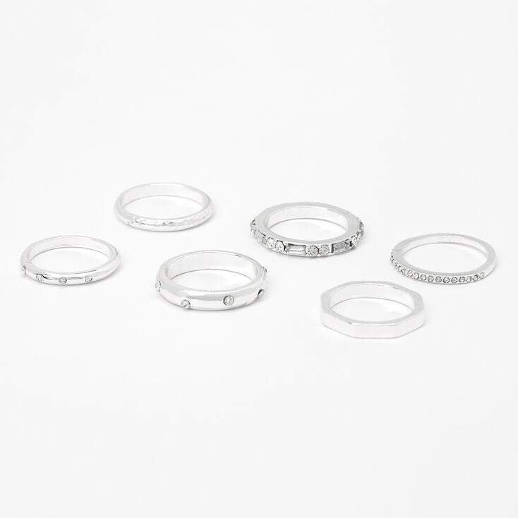 Silver Embellished Mixed Basic Rings - 6 Pack,