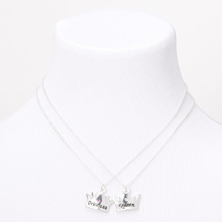 Best Friends Queen Princess Tiara Pendant Necklaces - 2 Pack,