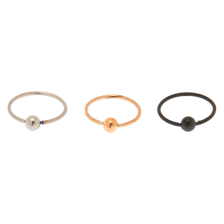 Mixed Metal Titanium 20G Nose Rings - 3 Pack,