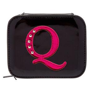 "Metallic Pink ""Q"" Initial Jewellery Case,"
