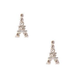 Silver-tone Eiffel Tower Stud Earrings,