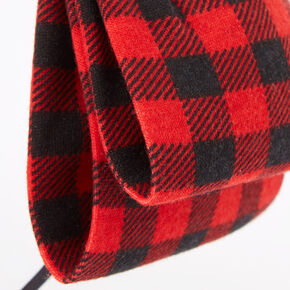 Plaid Bow Headband - Red,