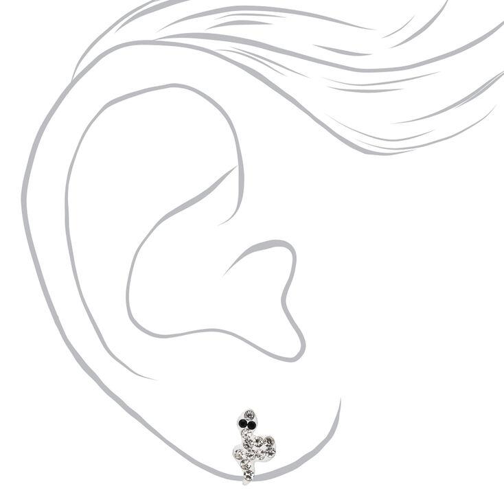 Clous d'oreilles serpent décorés couleur argentée,
