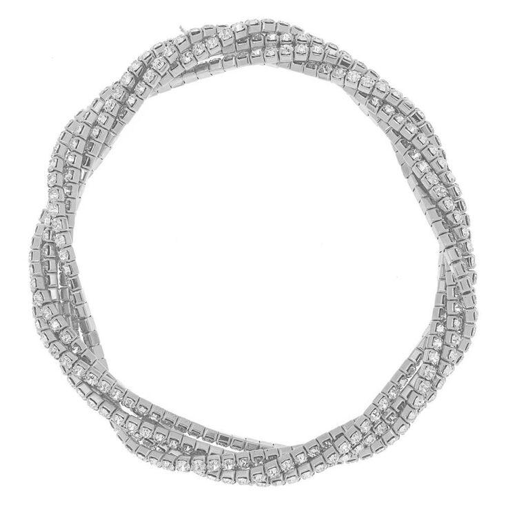 Bracelet élastique torsadé avec strass couleur argenté,