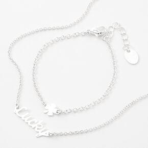 Parure de bijoux «Lucky» délicate couleur argentée - Lot de 2,