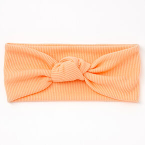 Ribbed Knotted Headwrap - Peach,