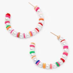 Gold 45MM Pearl Rainbow Disc Hoop Earrings,