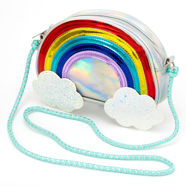 Claire's Club Holographic Rainbow Clouds Crossbody Bag,