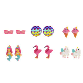 Tropical Magic Stud Earrings - 6 Pack,