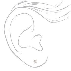 Silver Round Bezel Magnetic Stud Earrings - 9 Pack,