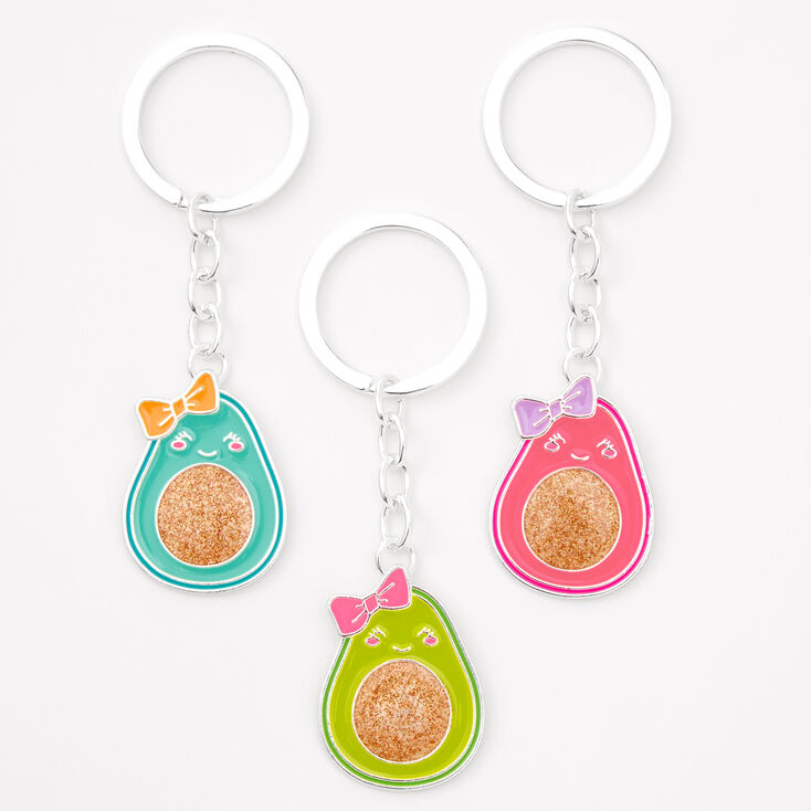 Best Friends Glitter Avocado Keychains - 3 Pack,