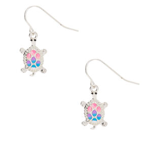 Silver Pastel Turtle Drop Earrings,