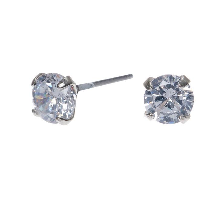 5mm Round Cubic Zirconia Stud Earrings