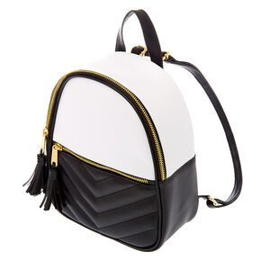 Quilted Chevron Black & White Small Backpack,