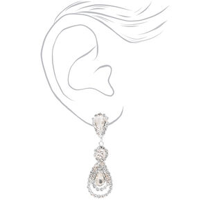 """Silver 2"""" Teardrop Rhinestone Clip On Drop Earrings,"""