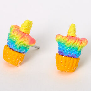 Silver Rainbow Unicorn Cupcake Stud Earrings,