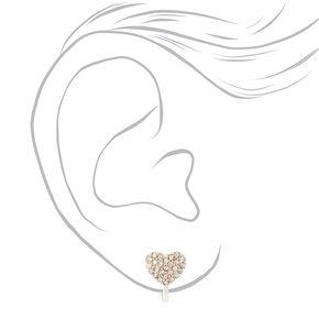 Silver Crystal Heart Clip On Stud Earrings,