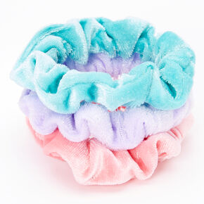 Claire's Club Small Velvet Pastel Hair Scrunchies - 3 Pack,