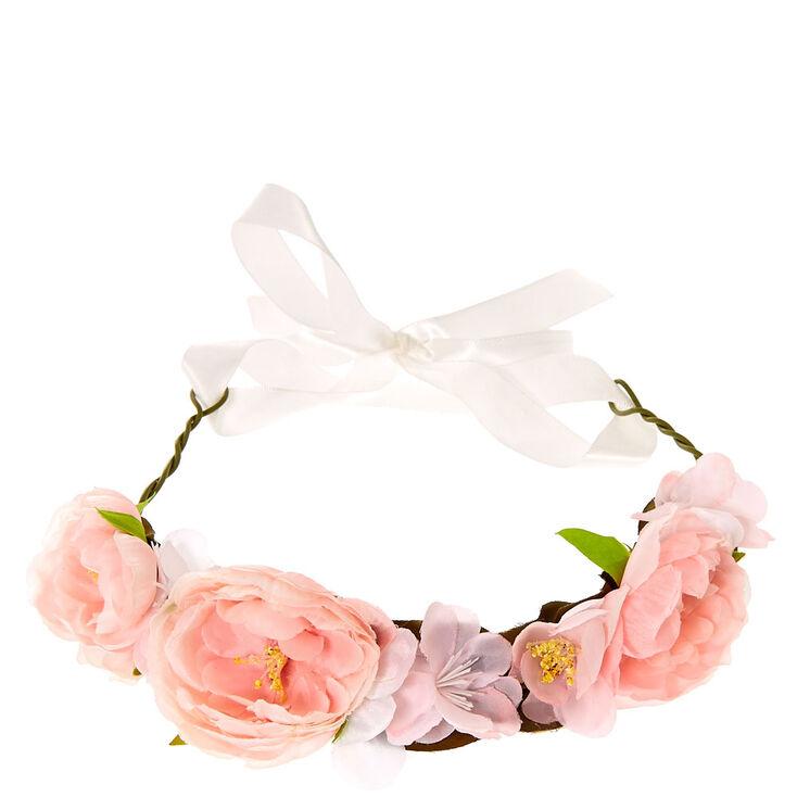 Bandeau en ruban motif fleur rose,