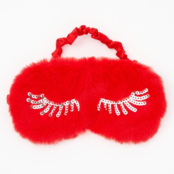 Eyelashes Furry Sleeping Mask - Red,