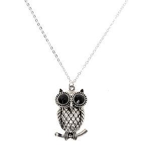 Silver Owl Long Pendant Necklace - Black,