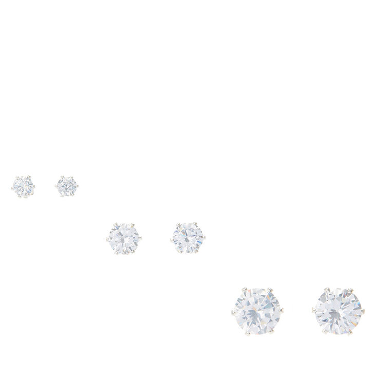 Iridescent Round Graduated Cubic Zirconia Stud Earrings,