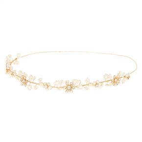 Gold Pearl Flower Crown Headband,